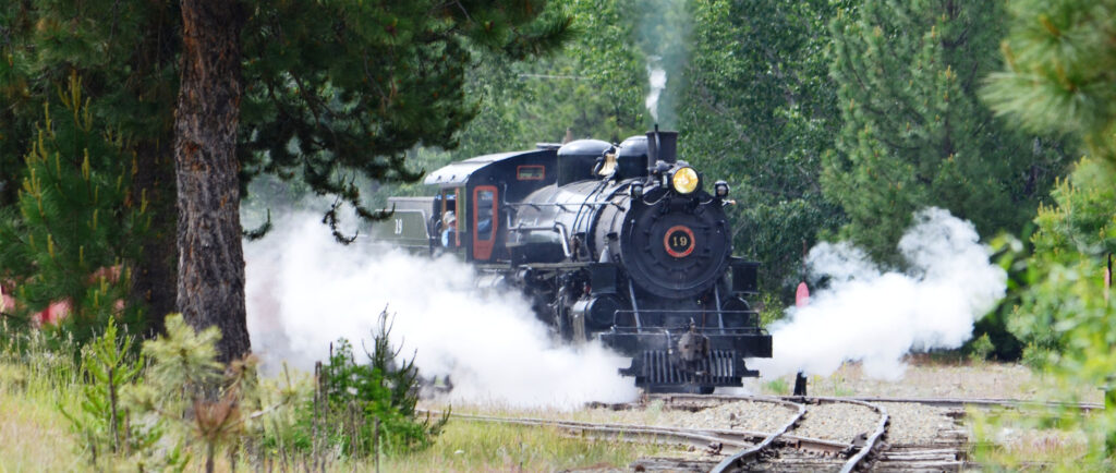 Sumpter Valley Rail Road Steam train coming around the corner