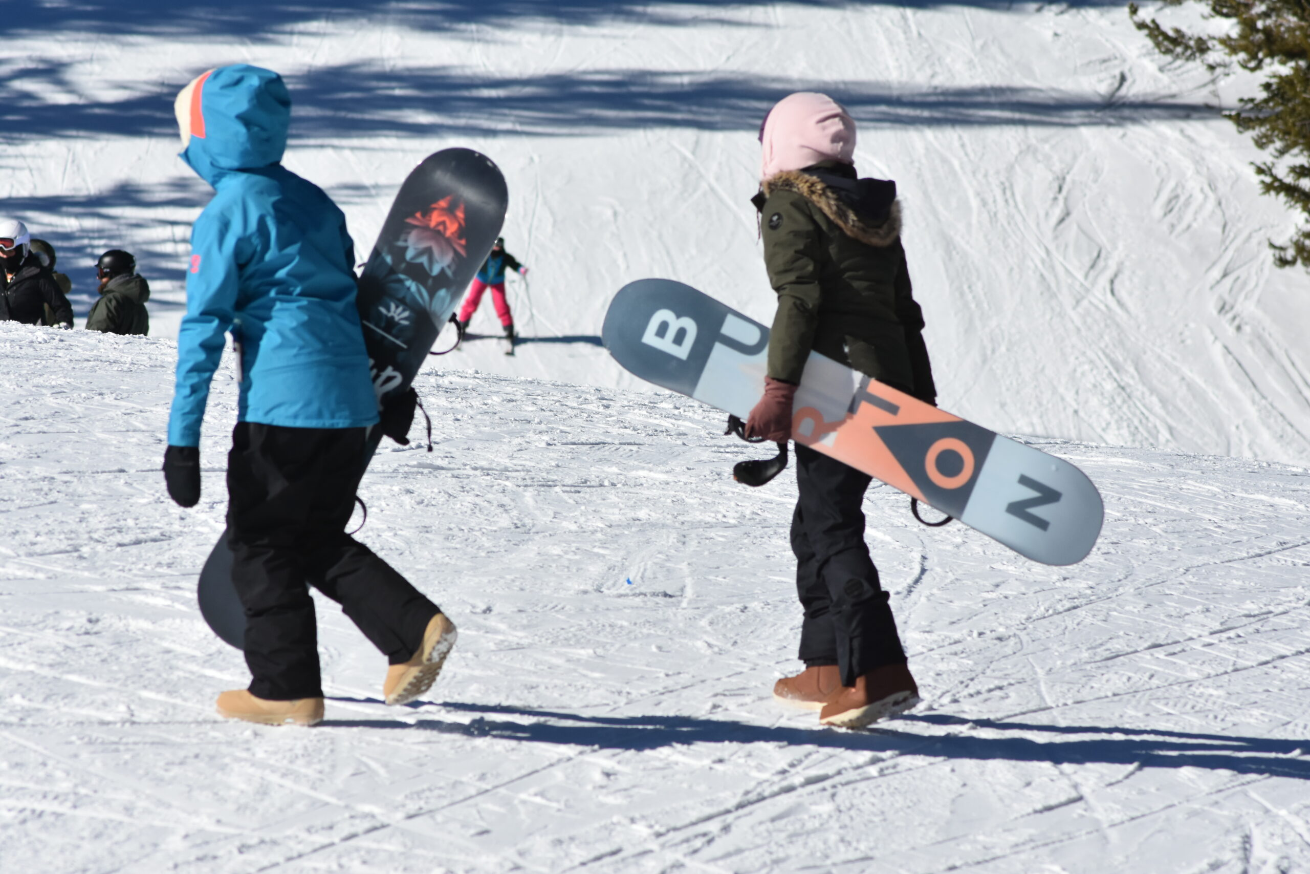 Snowboarders at Anthony Lkaes Mountain Resort in Baker County Oregon