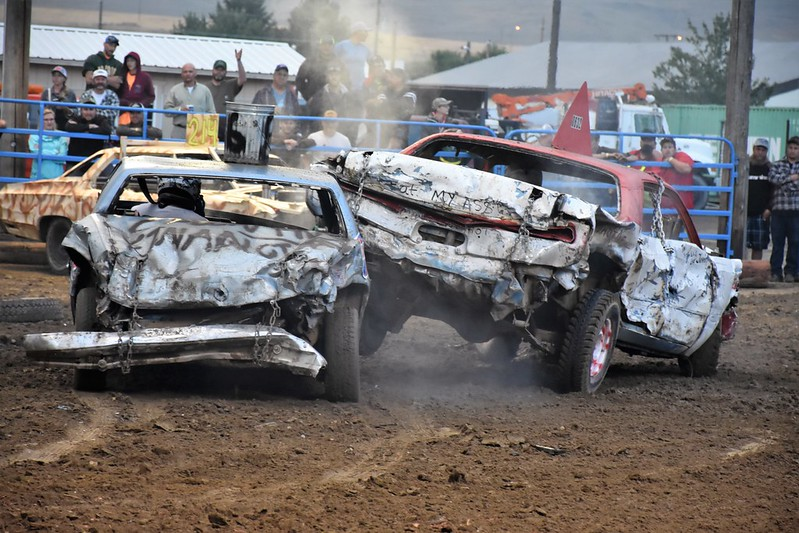 crashing cars at the Haines Stampede Demolition Derby