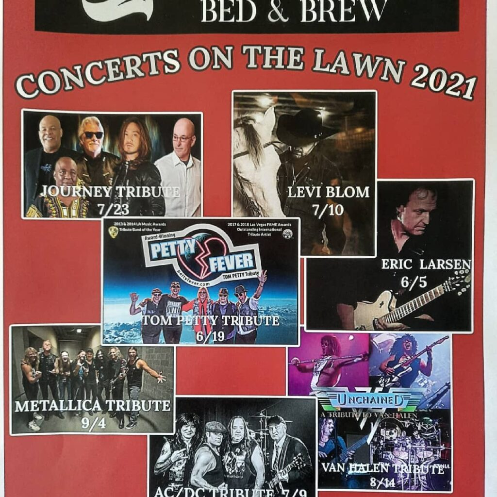 Summer Concerts on the Lawn at the Isdon House poster with band line up