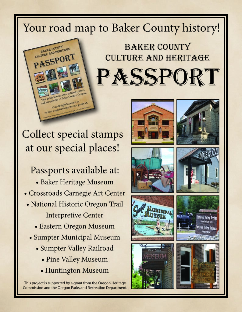 Poster for Baker culture and Heritage passport with photos of local museums and historic sites