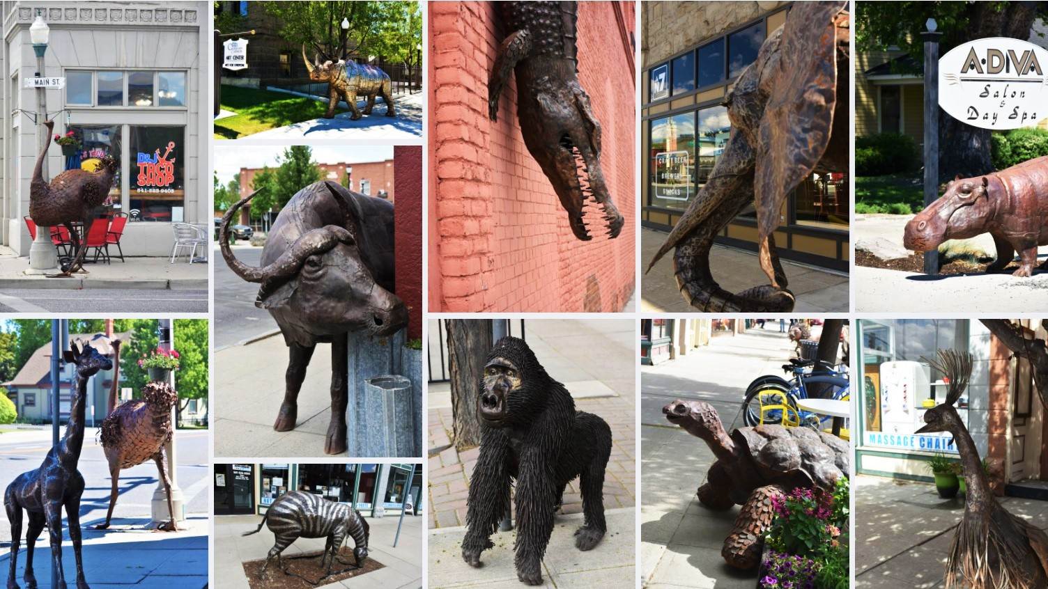 Downtown Baker City out door art instalation featuring exotic african wildlife metal sculptures including crocodiles, an Elephant, giraffes and more