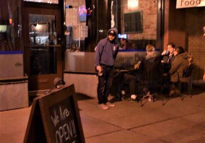 people dining outdoors at downtown cafe in Baker City